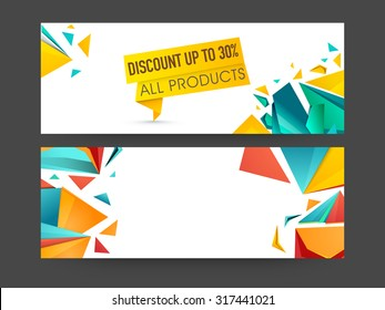 Abstract Sale website header or banner set with 30% discount offer on all products.