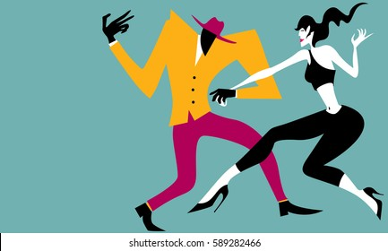 Abstract Salsa Dancers, Simple Colors (Vector Art)