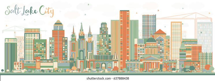 Abstract Salt Lake City Skyline with Color Buildings. Vector Illustration. Business Travel and Tourism Concept with Historic Architecture. Image for Presentation Banner Placard and Web Site.