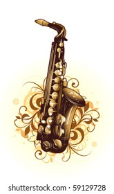 Abstract with saxophone and design elements