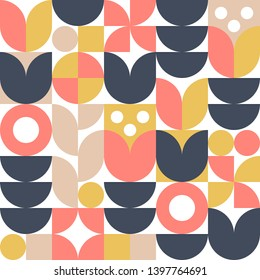 Abstract scandinavian flower background. Vector seamless pattern. Modern geometric illustration in retro nordic style.