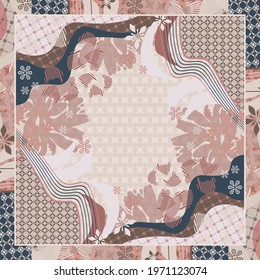 Abstract scarf pattern design floral and ethnic ornament. Hijab motif style