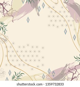 Abstract scarf pattern design with geometric and floral ornament