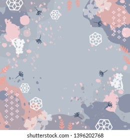 Abstract scarf pattern design with splash brush ink and floral element on gray. Hijab motif