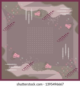 Abstract scarf pattern with floral design and circle motif