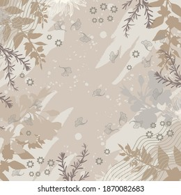 Abstract scarf pattern with floral design element. Hijab motif with flower and leaf ornament