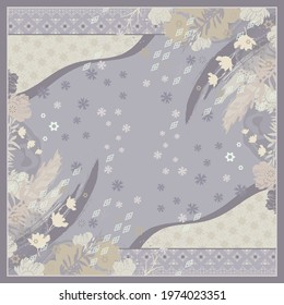 Abstract scarf pattern with floral design and ethnic ornament on gray color. Hijab motif style