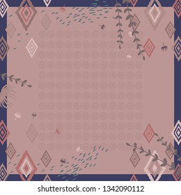 Abstract scarf pattern with geometric batik design