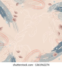 Abstract scarf pattern with leaf and brush style design