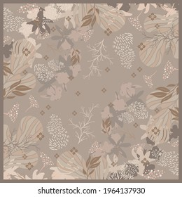 Abstract scarf pattern with leaf and flower ornament on beige color. Hijab design motif