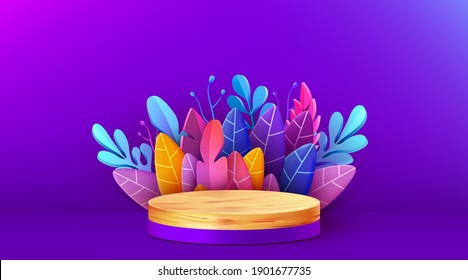 Abstract scene background.  Wooden podium with leaves. Product presentation, mock up, show cosmetic product, Podium, stage pedestal or platform. Vector illustration
