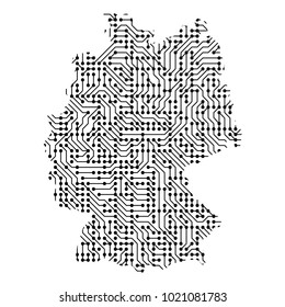 Abstract schematic map of Germany from the black printed board, chip and radio component of vector illustration
