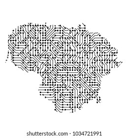 Abstract schematic map of Lithuania from the black printed board, chip and radio component of vector illustration