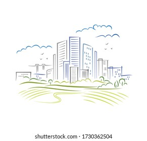 Abstract schematic urbanistic landscape of big megapolice in brush illustration style