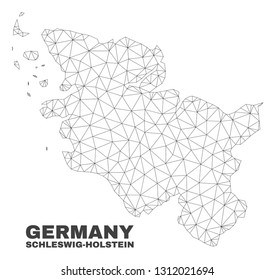 Abstract Schleswig-Holstein Land map isolated on a white background. Triangular mesh model in black color of Schleswig-Holstein Land map.