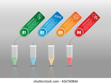 Abstract Science background template vector design. Display with Centrifuge Tube and 4 Options, Workflow, Step, Number, Process