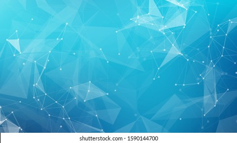 Abstract science connect data network and blue medical background. Vector cripto blockchain design for web