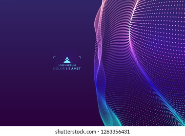 Abstract science or technology background. Graphic design. Network illustration with particle. 3D grid surface.