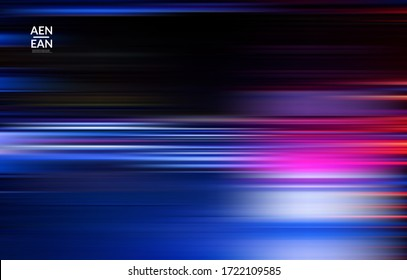 Abstract science wallpaper with speed light moving fast bright blurred lines. Cover design for internet communication data computing marketing technology. Futuristic art with fluid bright gradients.
