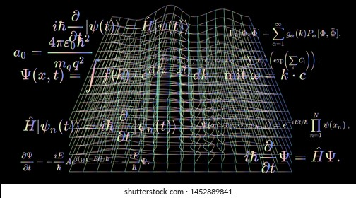 Abstract scientific background with fundamental Quantum Mechanics formulas: Schrodinger equation,  quantum field theory, ect. Vector illustration of a black chalkboard with physics formulas.