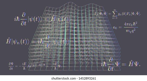 Abstract scientific background with fundamental Quantum Mechanics formulas: Schrodinger equation,  quantum field theory, diffusion equation, ect. Vector illustration of blackboard with formulas.