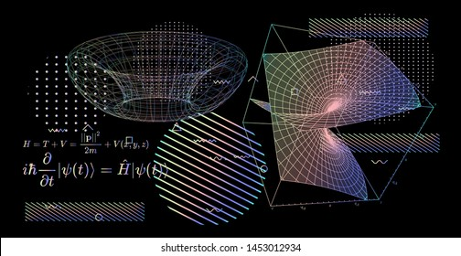 Abstract scientific background with fundamental Quantum Mechanics formulas: Schrodinger (Schroedinger) equation,  quantum field theory, ect. Vector illustration of a blackboard with physics formulas.