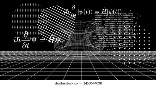 Abstract scientific background with fundamental Quantum Mechanics formulas:  Erwin Schrodinger (or Schroedinger) equation,  quantum field theory, ect. Blackboard with formulas.