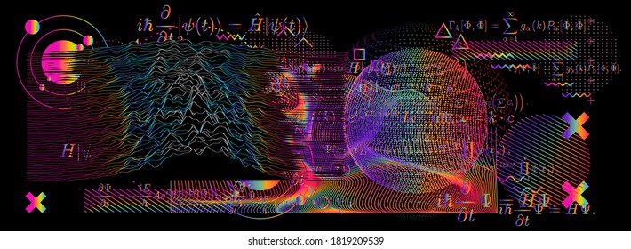 Abstract scientific background with fundamental Quantum Mechanics formulas: Schrodinger (Schroedinger) equation, ect. Blackboard with formulas, 3d graph of a function, calculations.