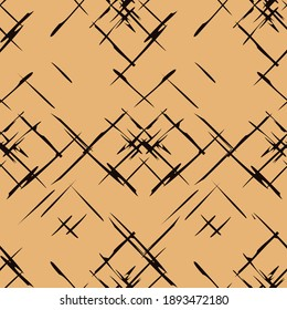 Abstract scratched seamless pattern. Chaotic texture on craft paper.  Retro texture. Print in old style. Cross hatching textured striped background. Grunge geometric pattern. Thin stripes on craft