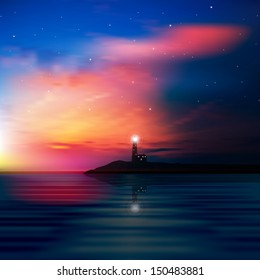 abstract sea background with lighthouse and sunrise