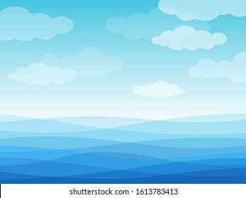 Abstract sea waves. Blue wavy ocean, sky and white clouds, flowing river water landscape wallpaper design, creative vector cartoon waterline surface background
