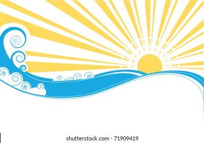 Abstract sea waves. Vector illustration of sea landscape