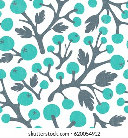 Abstract seamless background with berry branches. Vector illustration