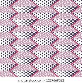 Abstract seamless background of circles, dots and trapezoids