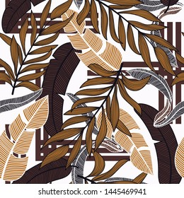 Abstract seamless background with colorful tropical leaves and bright plants on light background. Vector design. Jungle print. Floral background. Printing and textiles. Exotic tropics. Fresh design.