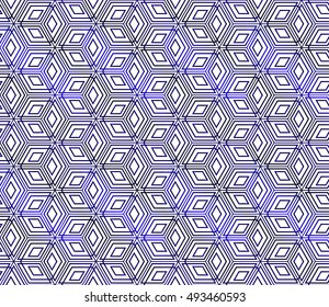 abstract seamless background with cube. geometry vector. blue gradient