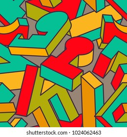 Abstract Seamless Background with Different 3D Objects on Gray. Modern Art Vector Concept. Mix of Geometrical Shapes