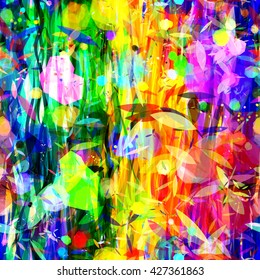 Abstract seamless background. Festive colors. Wavy lines and spots of polygons