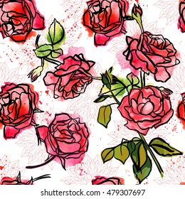 An abstract seamless background pattern with freehand ink and watercolor drawings of rose flowers and buds, and green leaves, with splashes of paint; scalable vector graphic on white background