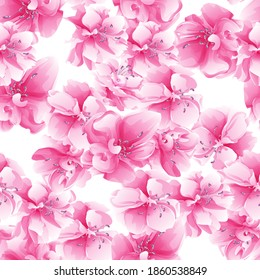 Abstract seamless background with pink flowers for your creative ideas. Spring, botanical, creative floral motif. Background for fabric, wrapping paper.