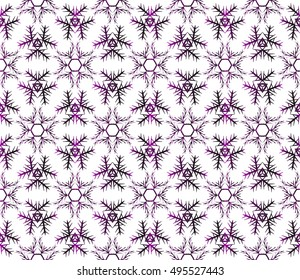 Abstract seamless background of snowflakes. vector illustration. purple gradient.
