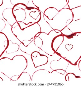 abstract seamless background, watercolors heart stamps, wine drops