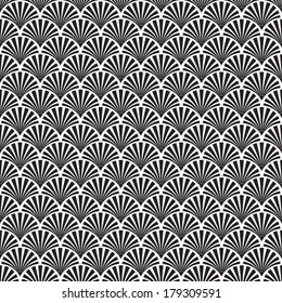 Abstract Seamless Black and White Art Deco Vector Pattern