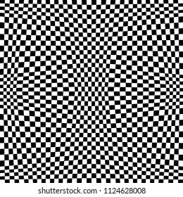Abstract Seamless Black and White Geometric Pattern with Squares. Contrasty Optical Psychedelic Illusion. Chessboard Wicker Structural Texture. Vector Illustration