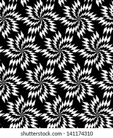 Abstract seamless black and white inverted vector pattern with thorny whirligigs. Easy to change the colors.