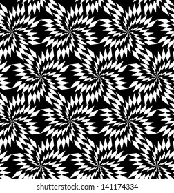 Abstract seamless black and white inverted vector thorny pattern in vanes. Easy to change the colors.