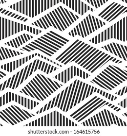 Abstract seamless black and white striped textured geometric pattern