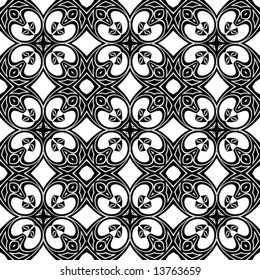 Abstract seamless black-and-white pattern - vector illustration