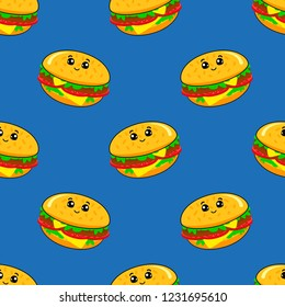 Abstract seamless burger pattern for girls or boys. Creative vector background with a burger, hamburger cute eyes. Funny hamburger pattern for textile and fabric. Fashion style.