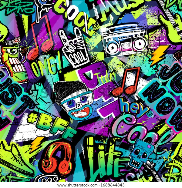Abstract seamless cartoon pattern for kids, teenagers, fashion textile, clothes, wrapping paper. Repeated print with monsters doodle characters, graffiti text, music elements, lightning, guitar